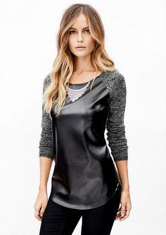 Faux Leather Front Sweater - Sweaters - Clothing - Alloy Apparel (what do you think @meaganmillar ?!)