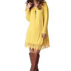 Levaca Womens Sweater Dress Long Sleeve Tunic Lace Loose T Shirt Yellow S *** Be sure to check out this awesome product.