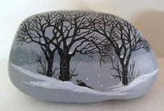 Painted Rocks Hand painted rock-art-paintings-snow scene w/ raccoon Martha Winenger (12/22/2012)