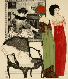 "Illustrator Paul Iribe (1883-1935), Published 1908, ""Les robes de Paul Poiret"", Paris."