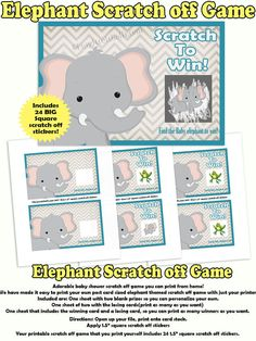 Print your own baby shower scratch off game. Our adorable elephant themed baby shower scratch off game is ready for you to print the files and apply your square scratch off stickers. We have made it easy to print your own post card sized elephant themed scratch off game with just your printer. This elephant themed baby shower scratch off game is the size of a post card. It measure 4 x 6. You can print two cards per sheet of card stock. We have included the cards all set up, just print and…