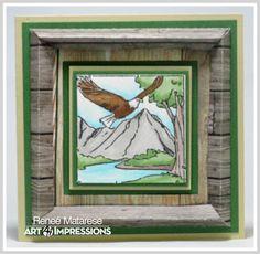 Renlymat's World:  M4880 – Eagles Window  and 4887 – 3D Frame Die ...Handmade masculine card.