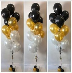 black, gold and white ombre affect balloon floor arrangement