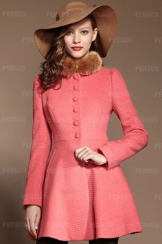 Fur Collar Jeannet Coat with Buttons [FEBK0568] - PersunMall.com