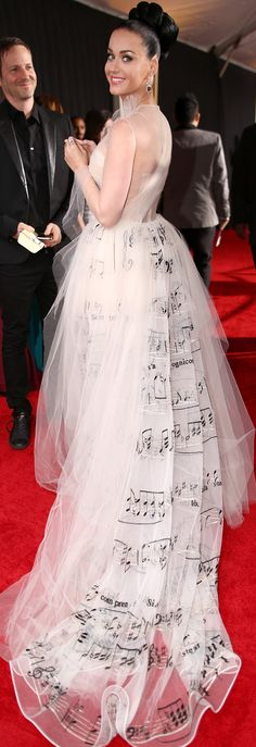 Katy Perry in a musical Valentino Couture gown at the Grammy Awards