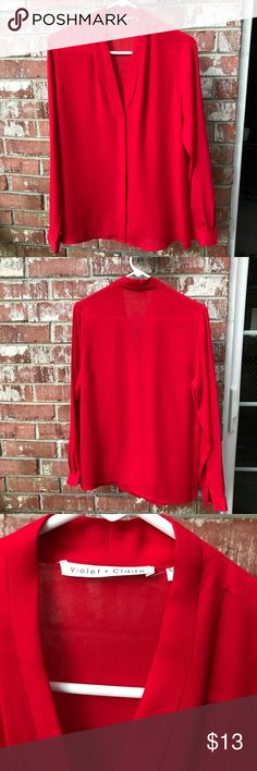 Violet & Claire Red Blouse V-Neck. Button Down. Hidden Buttons. Lightweight & Classy. Clean and in excellent condition Violet & Claire Tops Button Down Shirts