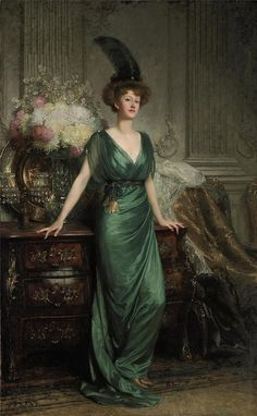 Sir Francis Bernard Dicksee (1853-1928) - Portrait of the Hon. Mrs Ernest Guinness wearing an emerald dress and feather in her hair.