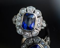 Item Description: Here we have an awesome 1940s deco piece, with a very large & expensive look! The center diamond is a simulated sapphire,