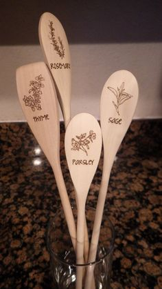 Solid Wood Spoon with Woodburning Design by ChicadeeCreates