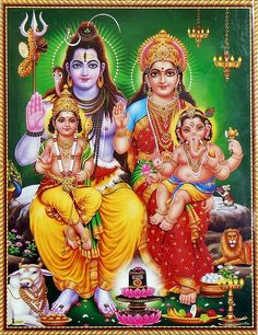 Lord Shiva and Goddess Parvathi with their sons - Lord Murugar and Lord Vinayakar - and daughter Goddess Ashokasundari. Lord Shiva Pics, Lord Shiva Hd Images, Lord Shiva Family, Ganesh Images, Ganesha Pictures, Shiva Parvati Images, Shiva Hindu, Hindu Deities, Lakshmi Images