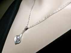 Bridal jewelry  Calla Lily Necklace Sterling by QueenMeJewelryLLC, $29.99