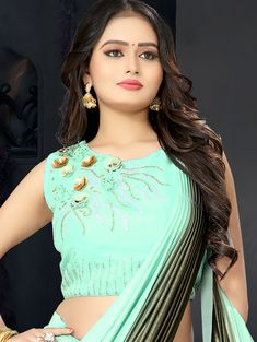 Green Shaded Lycra Pre Stitched Fancy Saree with Sequins Worked Flower Beautiful Girl Indian, Beautiful Girl Image, Most Beautiful Indian Actress, Beautiful Saree, Beauty Full Girl, Beauty Women, Dehati Girl Photo, Girl Number For Friendship, Indian Girls Images