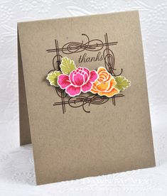 handmade card ... Thanks Card by Dawn McVey for Papertrey Ink (April 2013) ... kraft ... clean and simple ... brightly color flowers on a brown stamped frame ..... like it!!