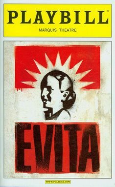 """Theatre Programme from the Broadway Revival Production of the Andrew Lloyd Webber / Tim Rice musical """"Evita,"""" which performed from April 5, 2012 thru January 26, 2013 at the Marquis Theatre. Elena Roger, Ricky Martin, and Michael Cerveris starred in the production."""