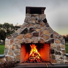 An outdoor fireplace that just might be up to a Canadian winter.
