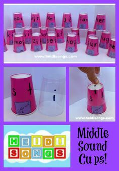 Listening activity, it's an activity to help students hear the middle sounds in words. Middle Sound Cups- and How to Teach Kids to Find the Middle Sound of a Word Teaching Phonics, Phonics Activities, Kindergarten Literacy, Early Literacy, Literacy Centers, Teaching Reading, Teaching Kids, Kids Learning, Preschool