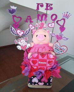 Valentine Gift Baskets, Valentine Gifts, Valentines Day, Ideas Para Fiestas, Party Centerpieces, Diy Birthday, Marshmallows, Balloons, Bouquet