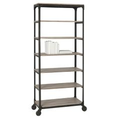 #shelf #arteriorshome Faust Iron/Wood Rolling Shelving Unit from Arteriors Home - 6339