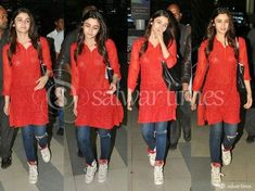 Alia Bhatt in Red Sleeves Kameez Indian Dresses, Indian Outfits, Indian Clothes, Red Kurti, Kurti With Jeans, Alia Bhatt Photoshoot, Women Salwar Suit, Stylish Summer Outfits, Simple Outfits