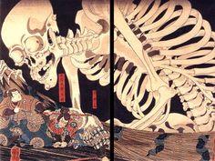 Utagawa Kuniyoshi: Mitsukini Defying the Skeleton Specter