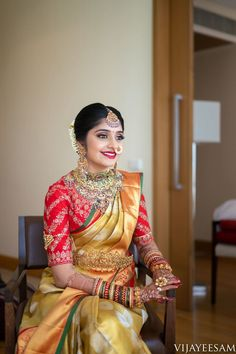 Photo From Wedding Looks! - By Make-up by Afsha Rangila Bridal Sarees South Indian, South Indian Bride, Indian Sarees, Indian Bridal, Half Saree Designs, Fancy Blouse Designs, Saree Blouse Patterns, Saree Blouse Designs, Boho Chic Wedding Dress