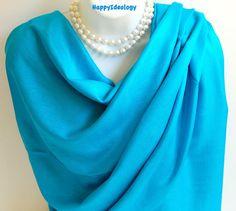 Blue Pashmina Scarf.Blue Teal Pashmina/Shawl.Summer