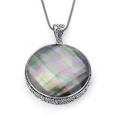 Samuel B pendant necklace in silver with labradorite---Handmade sterling silver necklace with a 59 ct. checkerboard-cut quartz doublet with black mother-of-pearl, $185; Samuel B. Collection