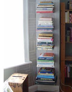 I really want some of these floating books bookshelves Diy Para A Casa, Diy Casa, Floating Bookshelves, Book Shelves, Bookshelves For Small Spaces, Invisible Bookshelf, Bookshelf Organization, Cookbook Organization, Do It Yourself Inspiration