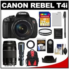 Canon EOS Rebel T4i Digital SLR Camera Body & EF-S 18-135mm IS STM Lens with 75-300mm III & 500mm Telephoto Lens + 32GB Card + Monopod + Battery + Backpack + Accessory Kit by Canon. $1299.95. Kit includes:♦ 1) Canon EOS Rebel T4i Digital SLR Camera & EF-S 18-135mm IS STM Lens♦ 2) Canon EF 75-300mm f/4-5.6 III Lens♦ 3) Samyang 500mm f/8.0 Telephoto Lens (T Mount)♦ 4) Transcend 32GB Class 10 SDHC Card♦ 5) Spare LP-E8 Battery♦ 6) 67mm UV Filter♦ 7) 58mm UV Filter♦ 8)...