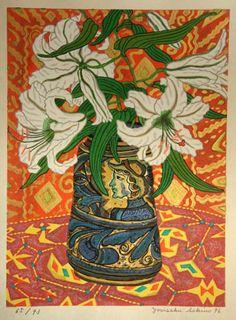 "huariqueje: ""  Majolica pot and Lily - Sekino, Yosaku Japanese b.1944- Woodblock…"