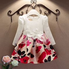 2018 Fashion jacquard Spring and Autumn long-sleeved lace print dress princess party baby girl dresses girl clothes yrs Kids Outfits Girls, Girl Outfits, Little Girl Dresses, Girls Dresses, Party Dresses, Princess Outfits, Princess Party, Frock Patterns, Baby Dress Design