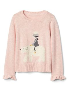 Discover adorable toddler girls sweaters from Gap including cardigan sweaters, sweatshirts and hoodies. Gap's sweater collection will wrap her up in style. Baby Polar Bears, Girls Sweaters, Ruffle Sleeve, Knit Crochet, Sweatshirts, My Style, Ice Land, Clothes, Shopping