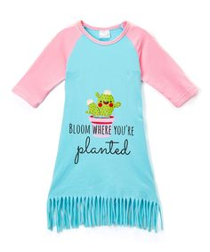 Aqua & Pink 'Where You're Planted' Dress - Infant Toddler & Girls
