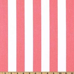 Pink White Stripe Fabric Nursery Fabric Home by EmbellishByAndrea, $4.25