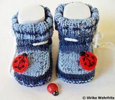 Babyschuhe Marienkäfer Handarbeit von strickliene von strickliene auf DaWanda.com