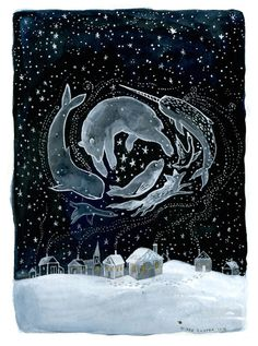 "DIANA SUDYKA ""Arctic Night"". I would like a narwhal.....and a whale and a polar bear and a seal and an arctic fox. When you see the northern lights and feel the cold then you can believe they are all magic creatures :)"