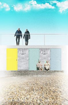 These beach huts designed by Snug Architects made from reinforced pre-cast concrete feature decorative panels depicting local scenes.