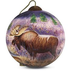 """Precious Moments """"Moose"""" Petite Round Shaped Glass Ornament by Cynthie Fisher"""