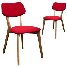 Milan Direct Set of 2 Jelly Bean Chairs - Red