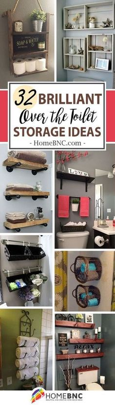 Over The Toilet Storage Decor Ideas #HomeDecorTools