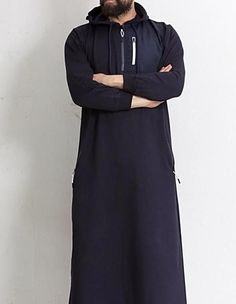 QL KamiHoodie Active Thobe Kameez with Long Sleeves in Blue-MOOMENN Latest Collection of Arabian Clothes for Women, Buy Top Styles of Arabian Clothes Online Arab Fashion, Muslim Fashion, Mens Fashion, Jubbah Men, Maxi Outfits, Fashion Outfits, Gents Kurta Design, Kurta Men, Muslim Men