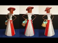 Recycled Paper Crafts, Newspaper Crafts, Diy And Crafts, Paper Doll Making, Paper Dolls, African Dolls, African Art, African Crafts, Acrylic Colors