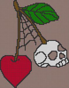 Alpha friendship bracelet pattern added by skull cherry spiderweb vintage tattoo. Cross Stitch Skull, Beaded Cross Stitch, Cross Stitch Embroidery, Perler Patterns, Embroidery Patterns, Cross Stitch Patterns, Cross Stitch Boards, Cross Stitch Bookmarks, Plastic Canvas Crafts