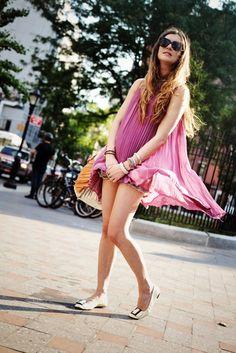 Karen Walker sunglasses, Nasty Gal dress, vintage Levi's cutoffs, Collina Strada bag, Prada flats