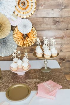 3d52dde3fafc GORGEOUS GOLD AND BLUSH PINK BRIDAL SHOWER. Bridal shower dessert idea -  cupcakes with engagement ring cake toppers  Courtesy of Best Friends For  Frosting