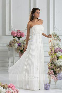 Beautiful Princess Floor-length Strapless Zip-up Chiffon White Wedding Dresses