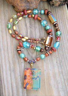 Boho Rich Chunky Beaded Necklace Copper Turquoise by BohoStyleMe