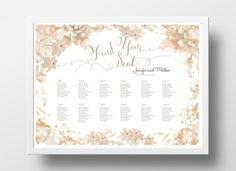 wedding seating chart poster diy editable powerpoint template floral brown poster templates resume