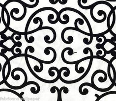 Black & White Contemporary Scroll Fabric Robert Allen Soft Scrolls Jet