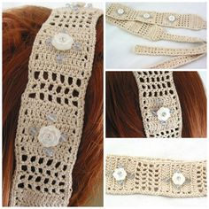 Cream Lace Hand crochet hairband White flower Purple Crystal head band